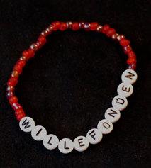 Armband enfärgad röd/vit